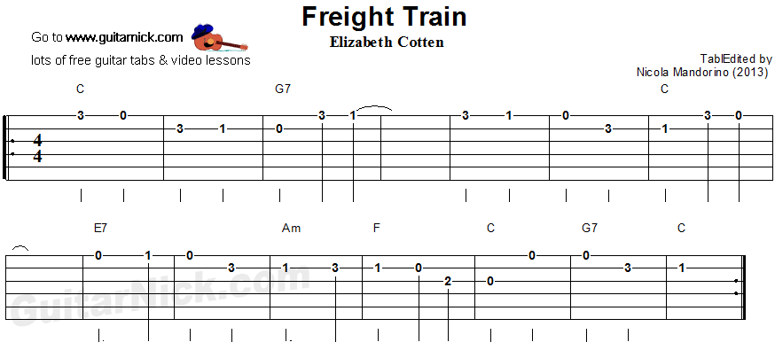 Freight Train: easy guitar tablature