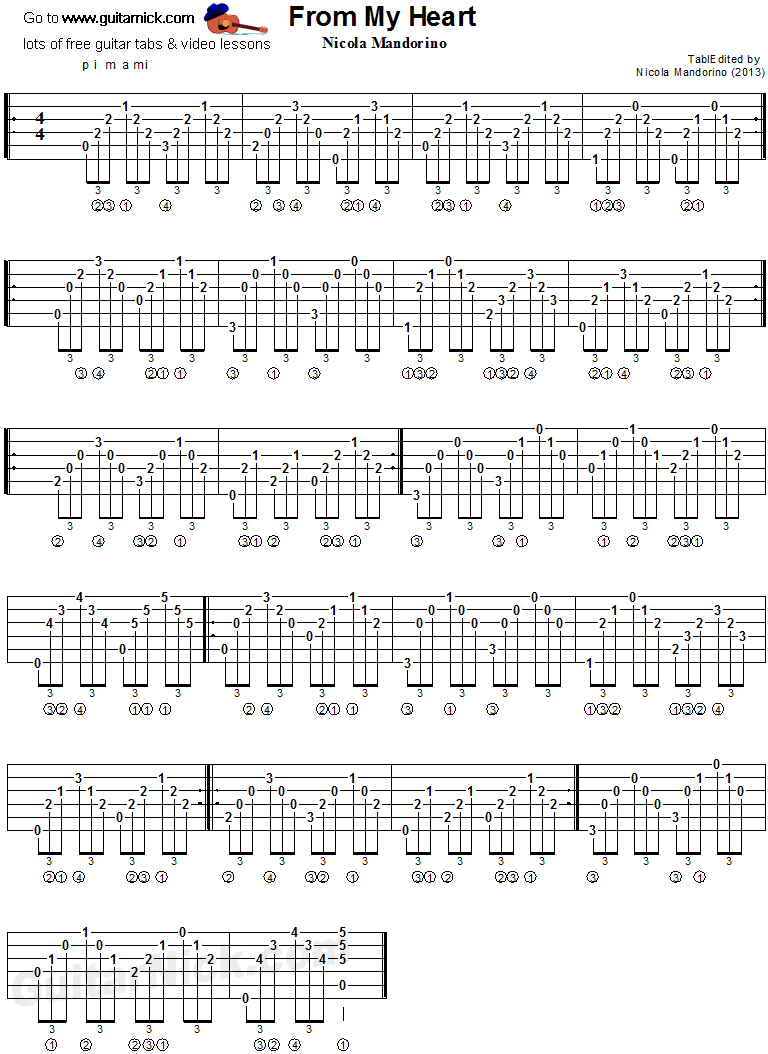 From My Heart - classical guitar tab