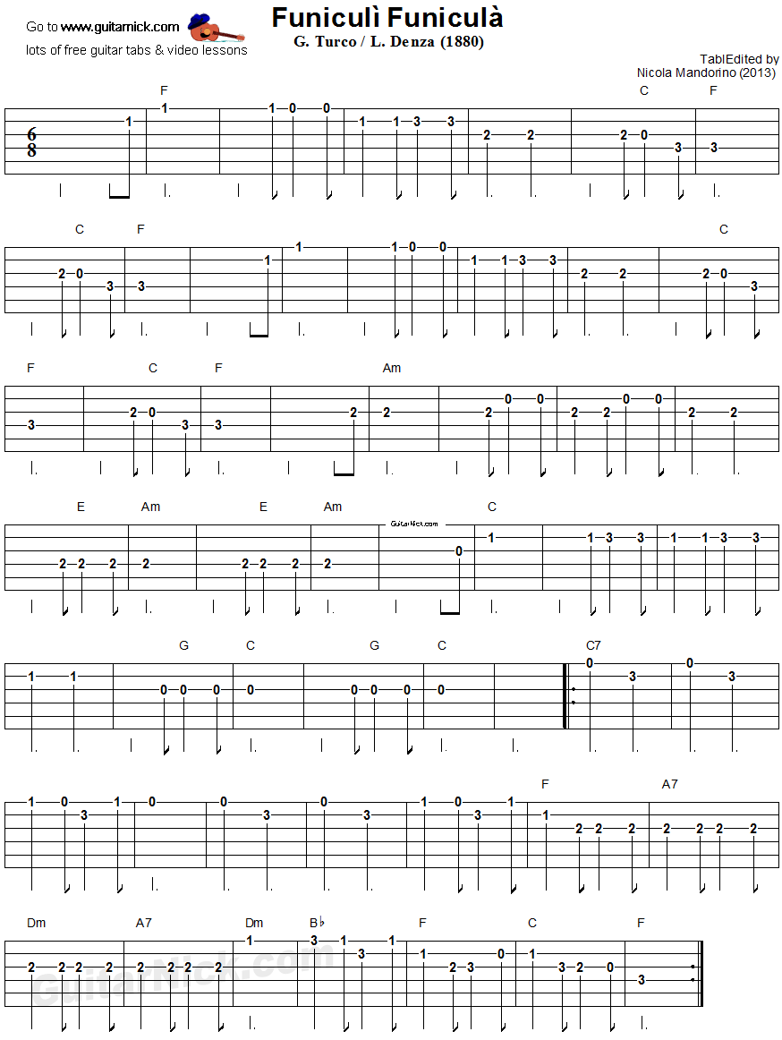 Funiculi Funicula: easy guitar tablature