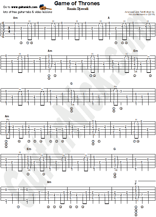 game of thrones theme fingerstyle guitar tab pdf. Black Bedroom Furniture Sets. Home Design Ideas