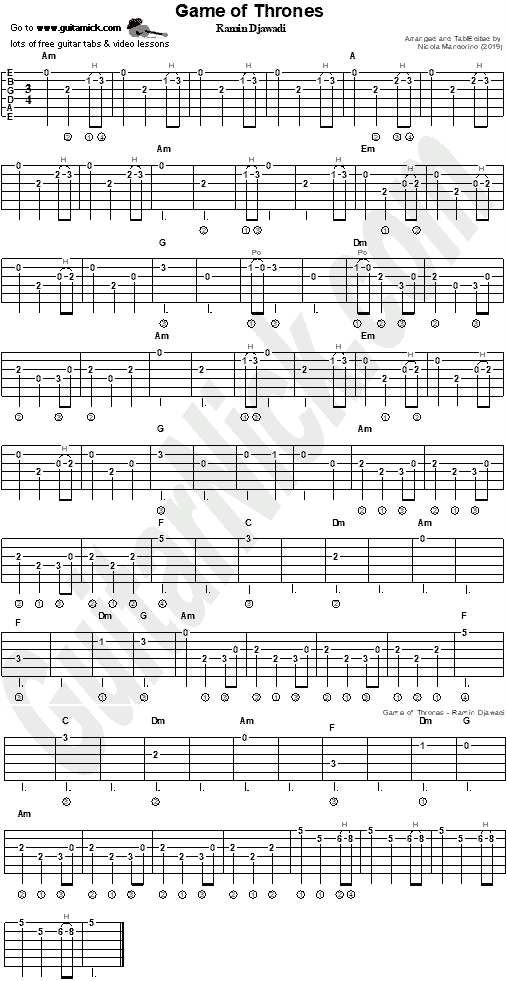 game of thrones theme guitar tab chords solo. Black Bedroom Furniture Sets. Home Design Ideas