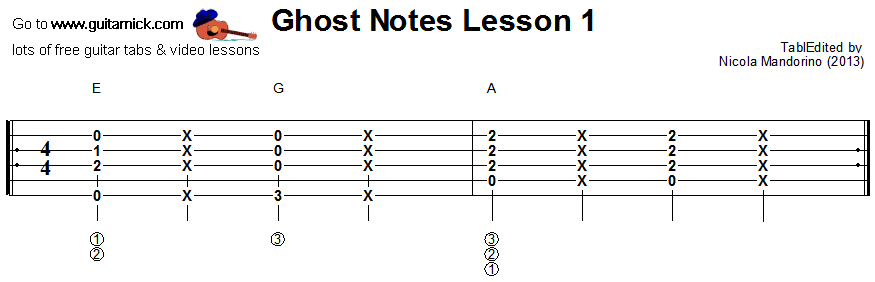 Ghost notes - guitar tab 1
