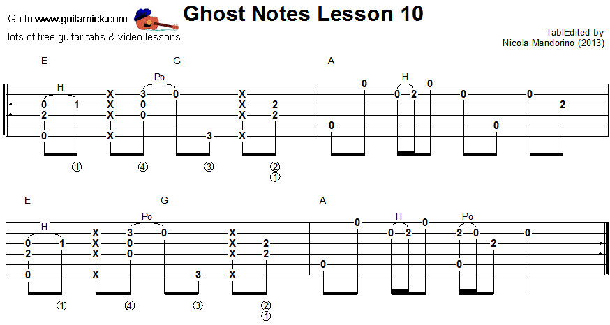 Ghost notes - guitar tab 10