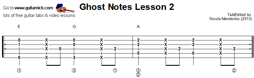Ghost notes - guitar tab 2