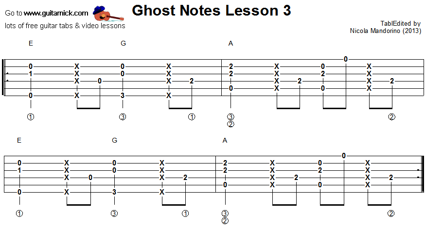 Ghost notes - guitar tab 3