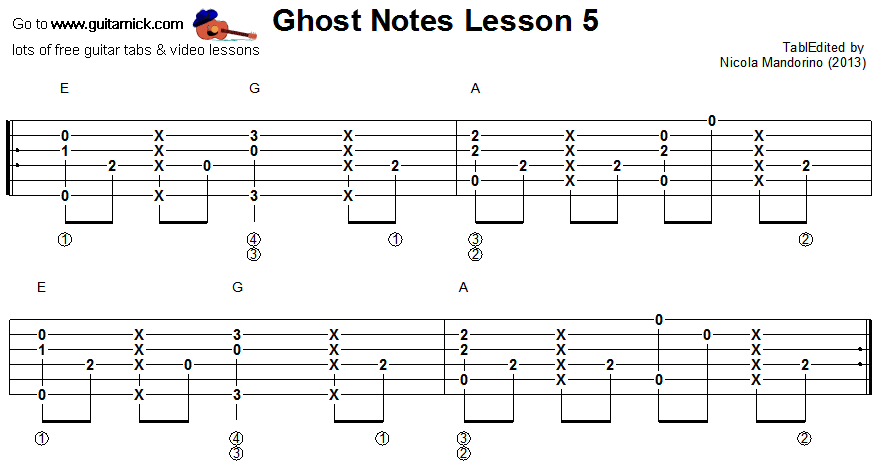 Ghost notes - guitar tab 5