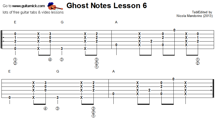 Ghost notes - guitar tab 6