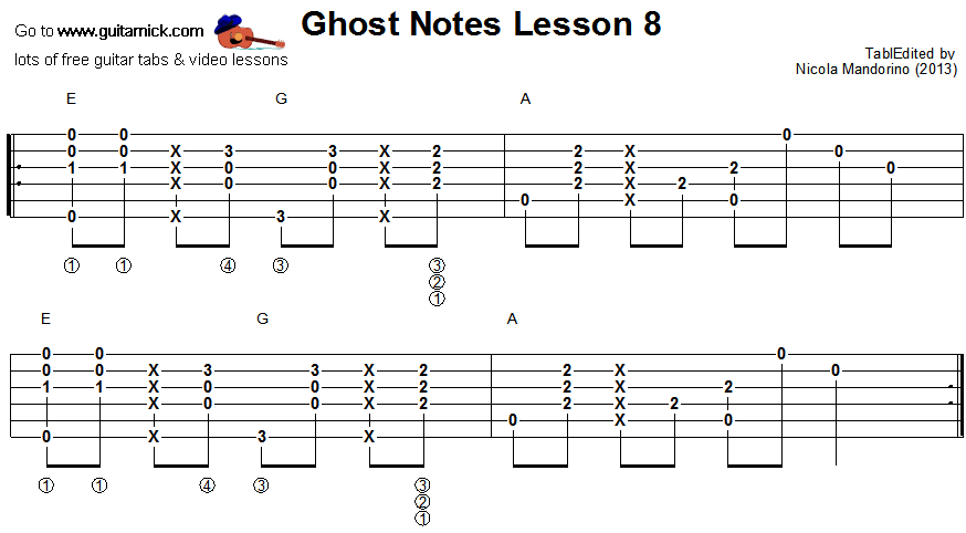 Ghost notes - guitar tab 8
