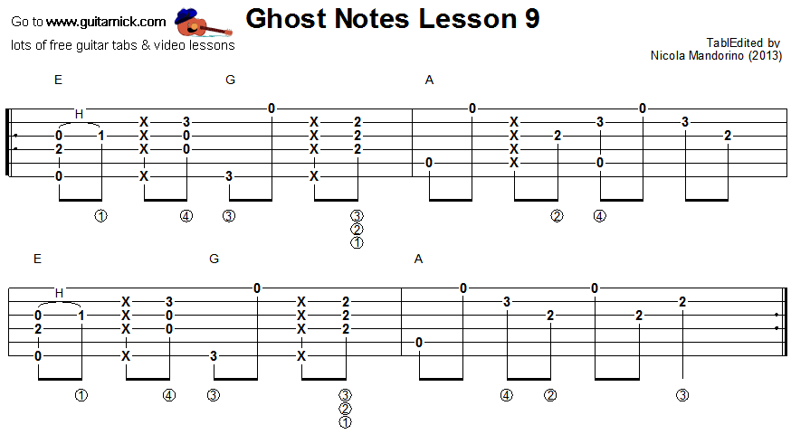 Ghost notes - guitar tab 9