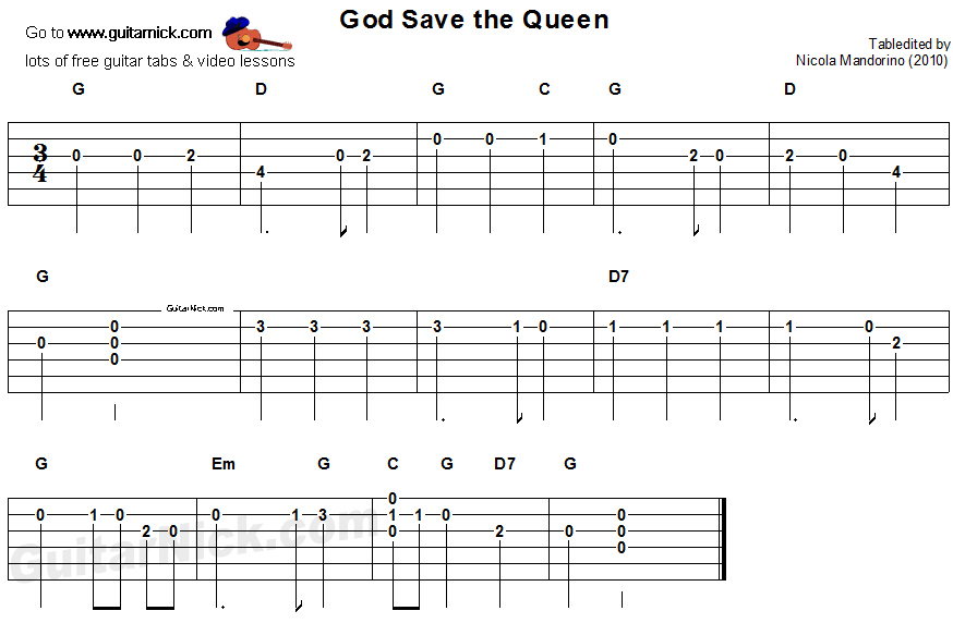 God Save The Queen: easy guitar tablature