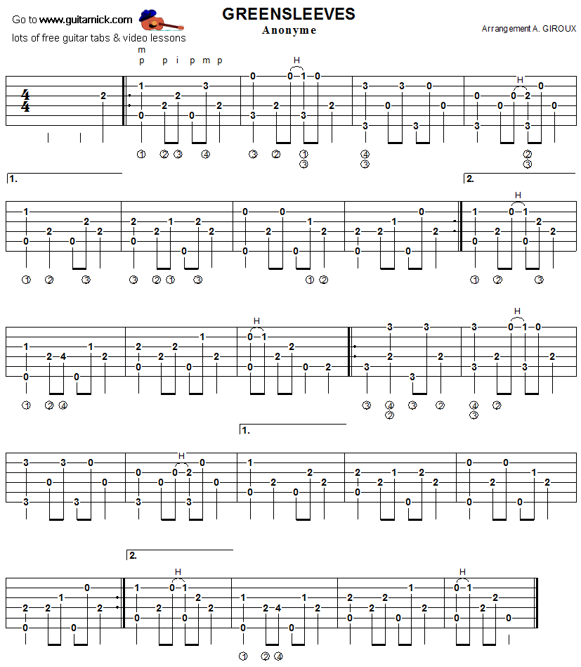 Greensleeves -: fingerpicking guitar tablature