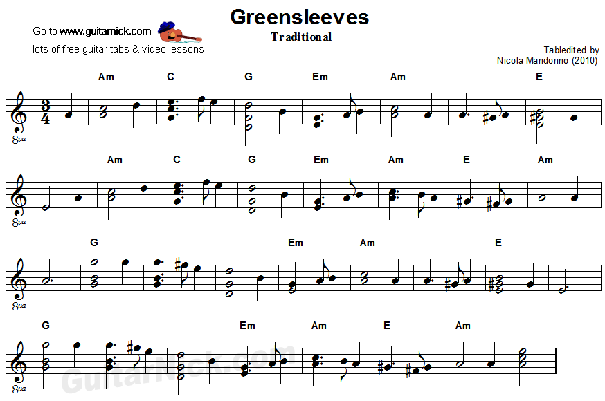 Greensleeves: easy guitar sheet music