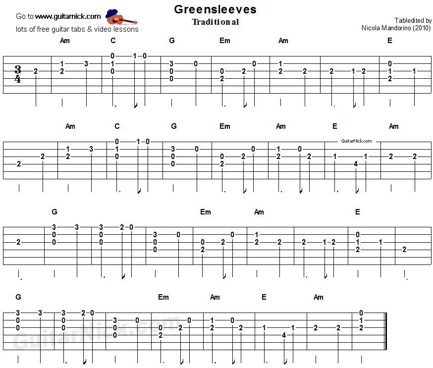 Greensleeves: easy guitar tablature