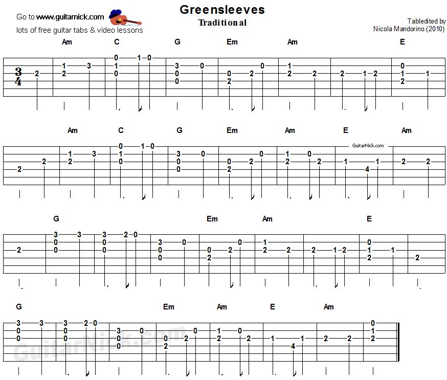 greensleeves easy guitar lesson. Black Bedroom Furniture Sets. Home Design Ideas