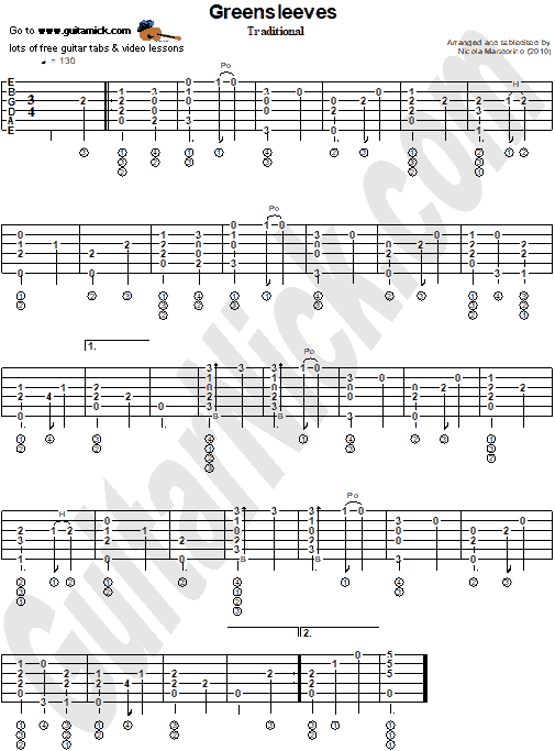 GREENSLEEVES - Fingerstyle guitar tab