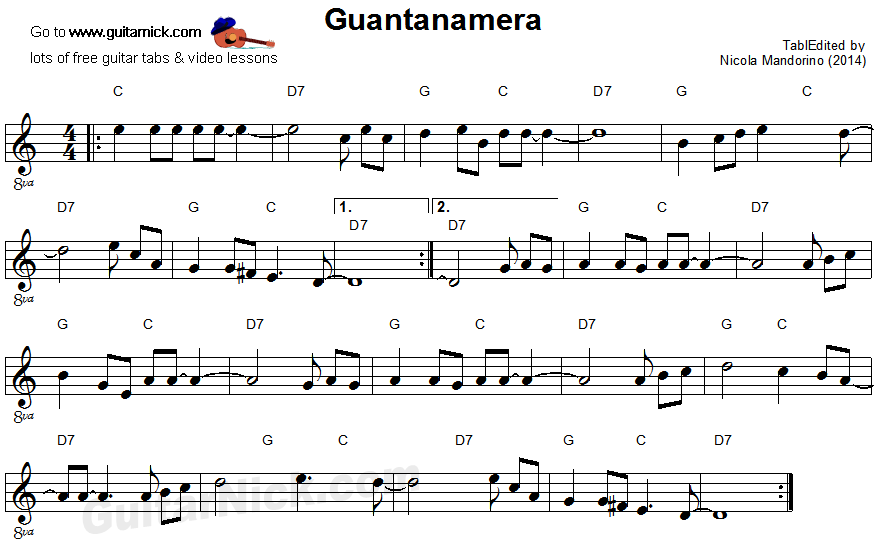 Guantanamera: easy guitar sheet music