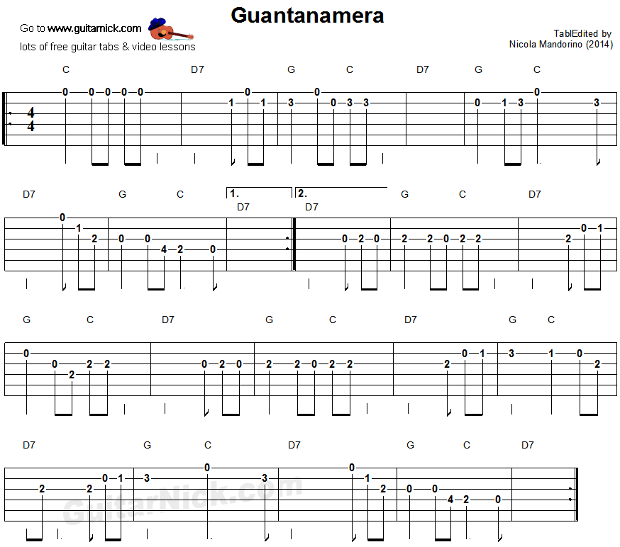 Lyric guantanamera lyrics : GUANTANAMERA Easy Guitar Lesson: GuitarNick.com