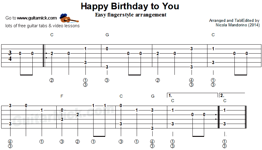 Alfa img - Showing u0026gt; Happy Birthday Guitar Tab Easy