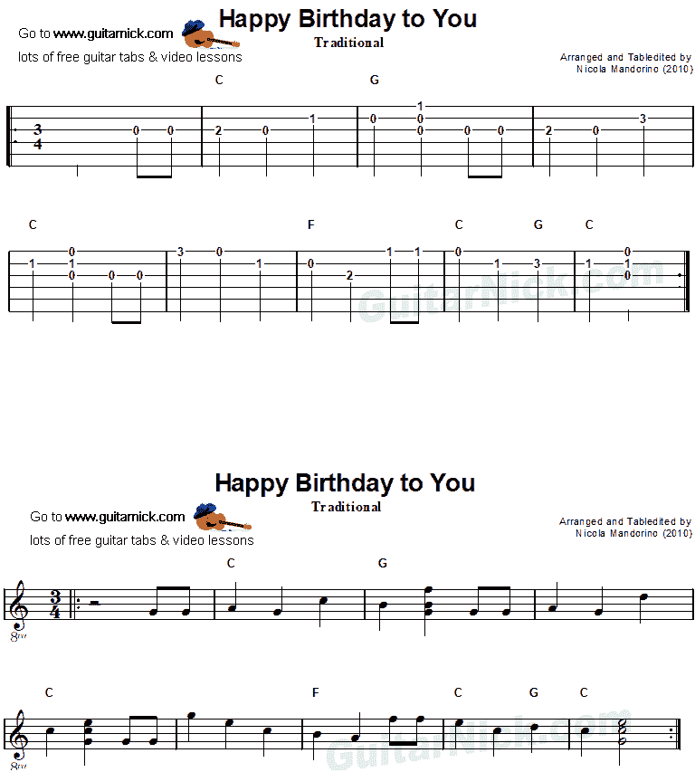 Happy Birthday - easy guitar tab-sheet