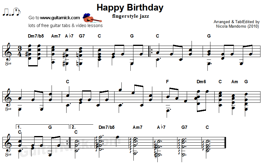 HAPPY BIRTHDAY Fingerstyle Jazz Guitar Lesson: GuitarNick.com