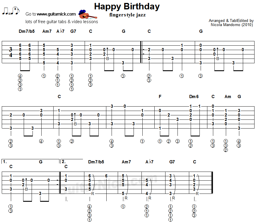 HAPPY BIRTHDAY Fingerstyle Jazz Guitar Lesson