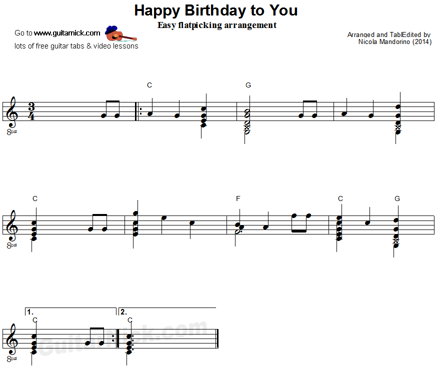 HAPPY BIRTHDAY Flatpicking Guitar Lesson: GuitarNick.com