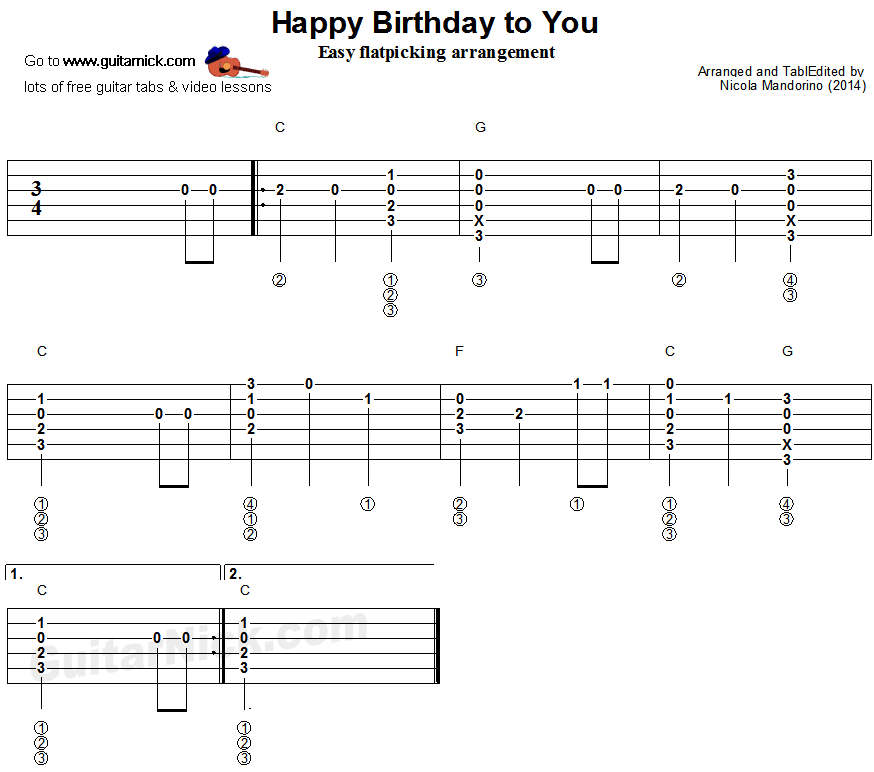Happy Birthday Flatpicking Guitar Lesson Guitarnick Com