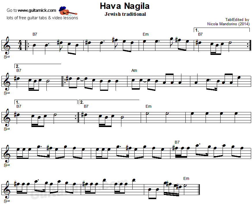 Hava Nagila - flatpicking guitar sheet music