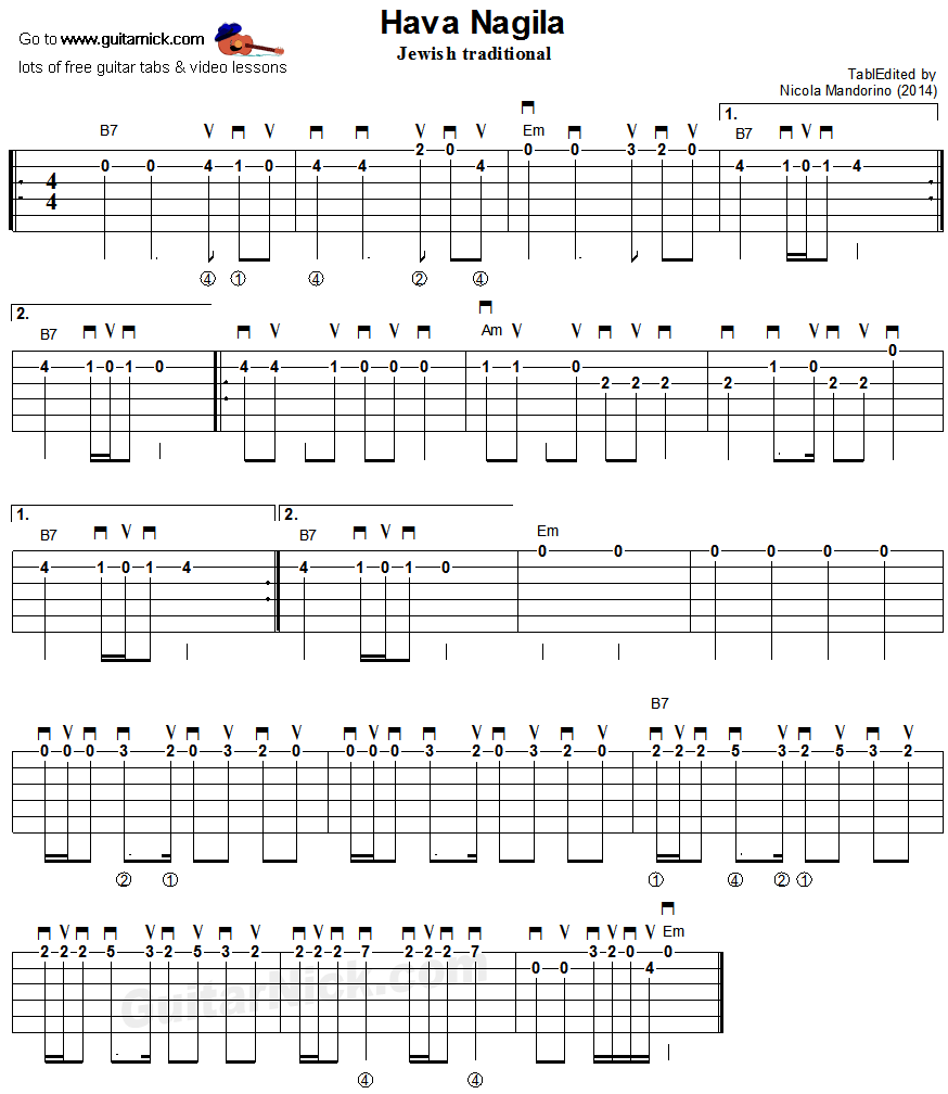 Hava Nagila - flatpicking guitar tablature