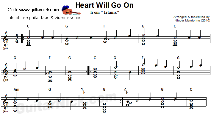 Heart Will Go On - flatpicking guitar sheet music