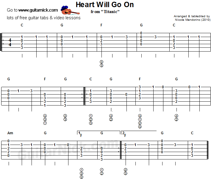 Heart Will Go On - flatpicking guitar tablature