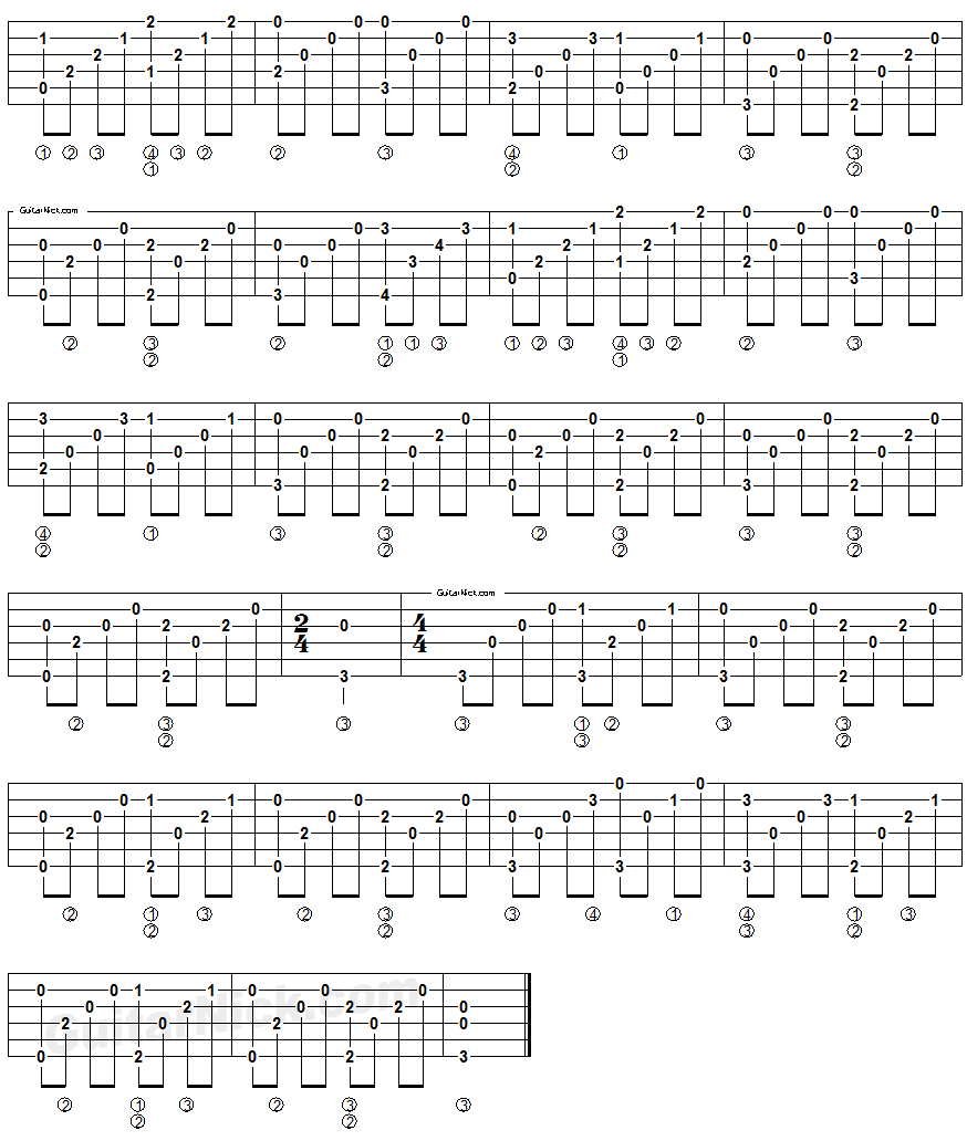 Heaven - fingerstyle guitar tablature 2