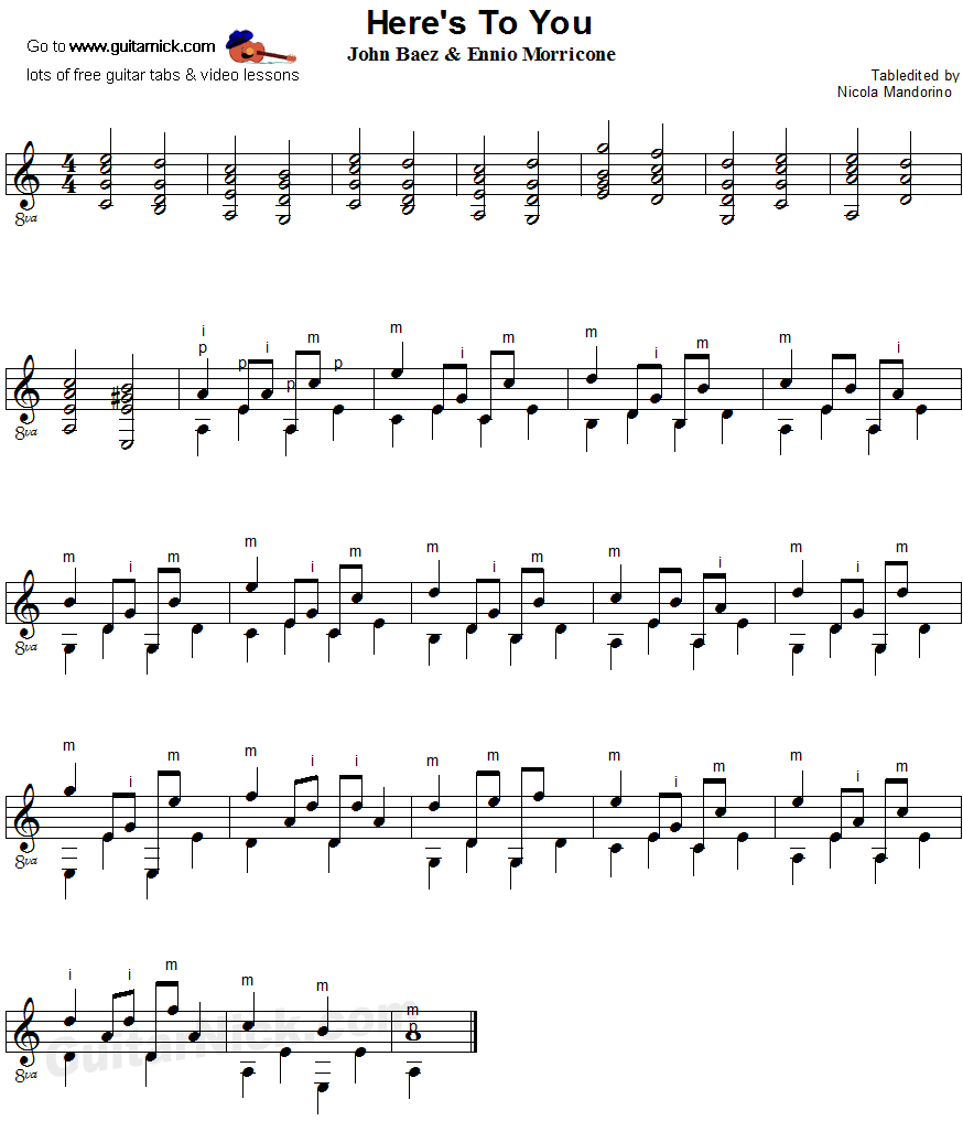 Here's To You - fingerpicking guitar sheet music