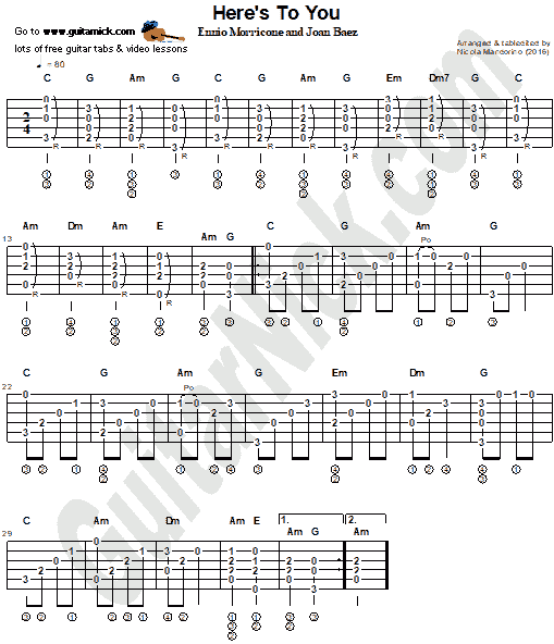 Here's To You - fingerstyle guitar tab