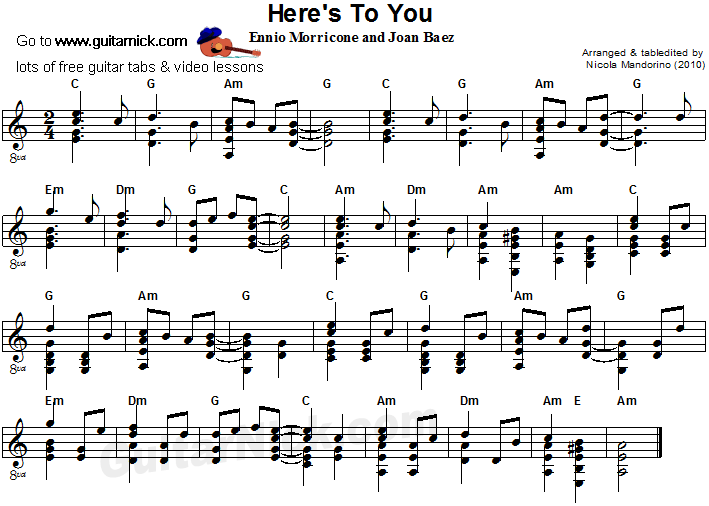 Here's To You - flatpicking guitar sheet music