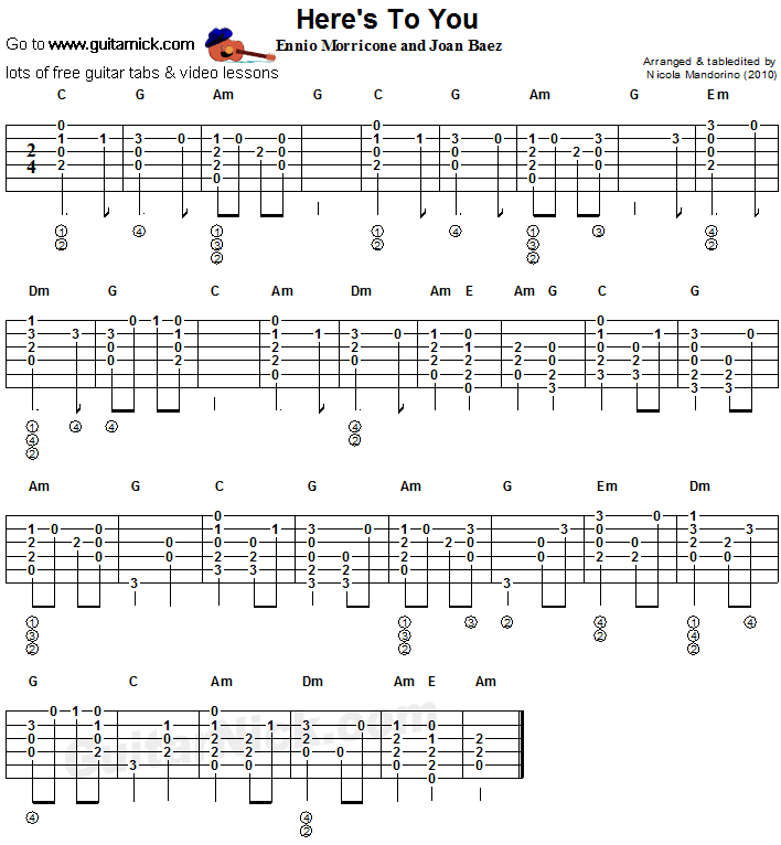 Here's To You - flatpicking guitar tab