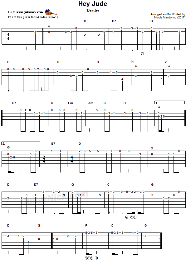 Hey jude easy guitar tab