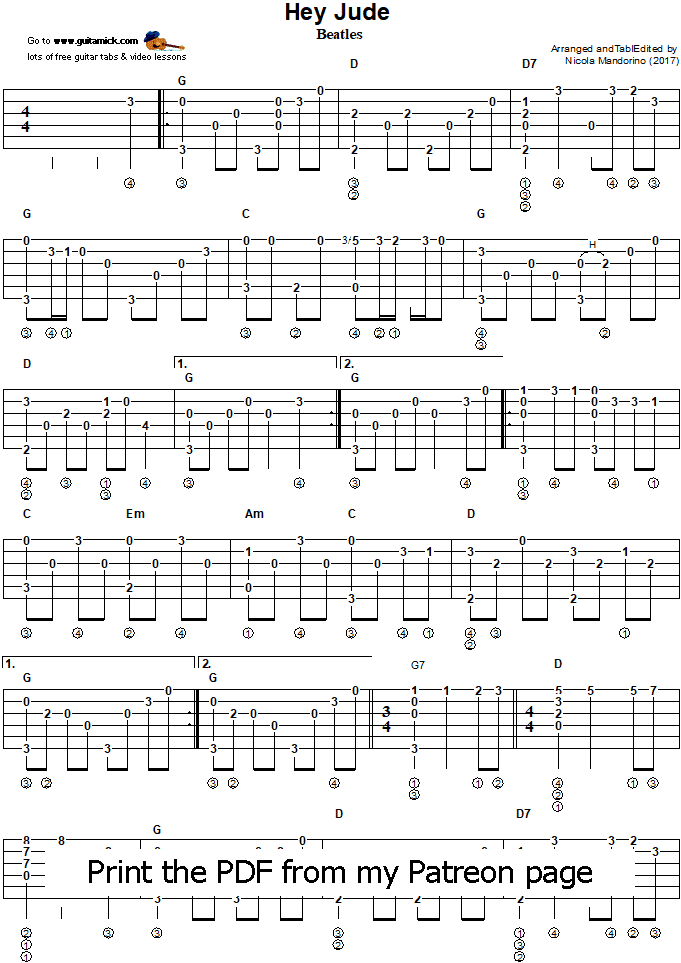 Hey Jude - fingerstyle guitar tab