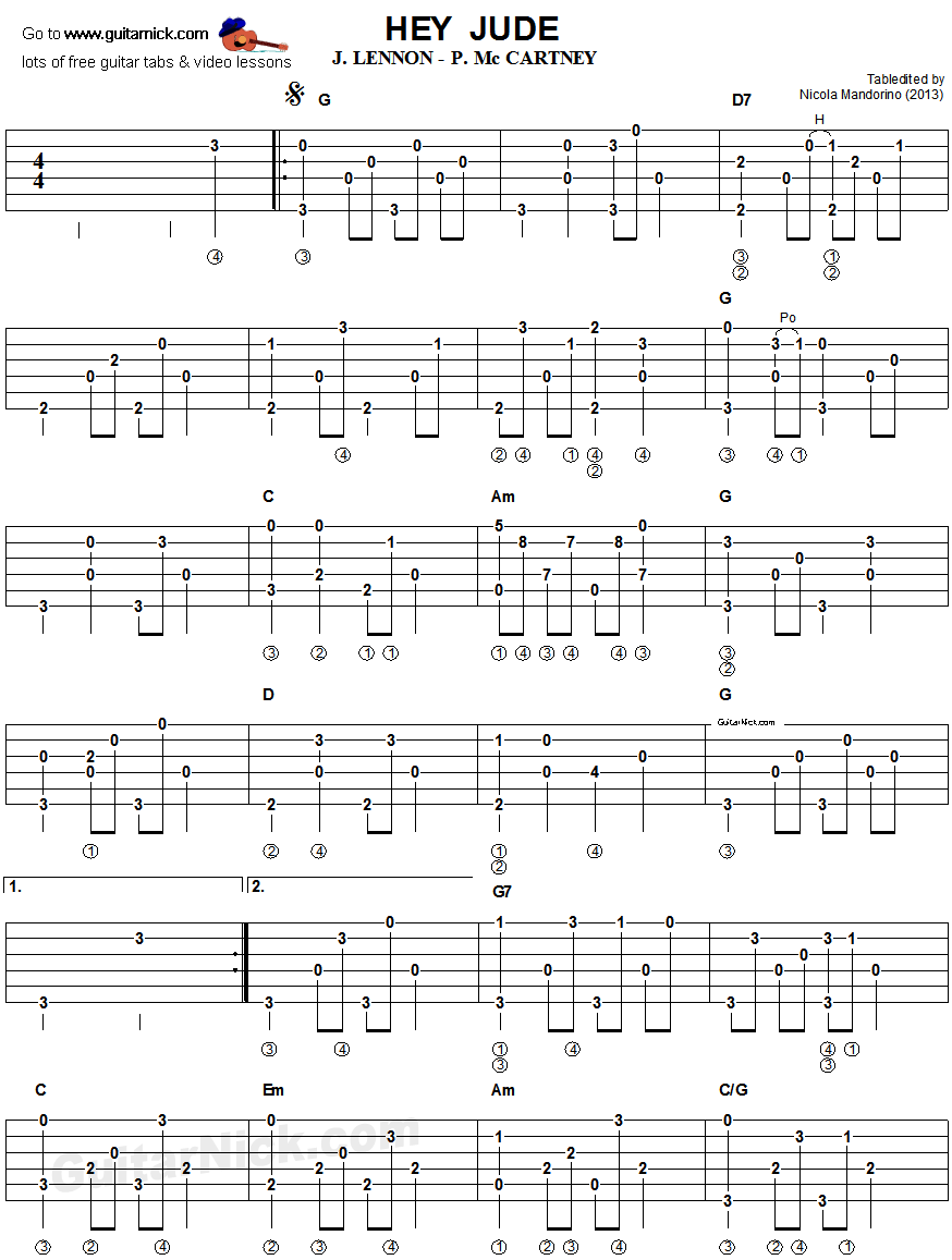 Hey jude fingerpicking guitar tablature 1