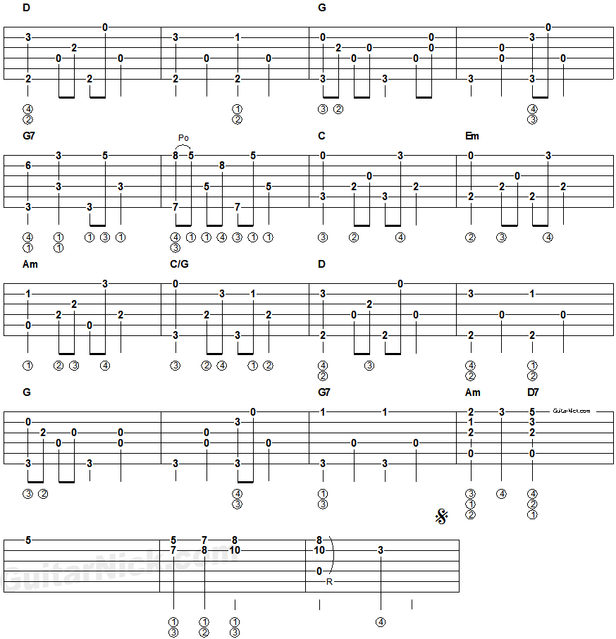 Hey jude fingerpicking guitar tablature 2