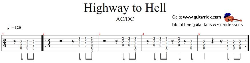 Guitar ac dc guitar tabs : Highway to Hell: guitar tab -