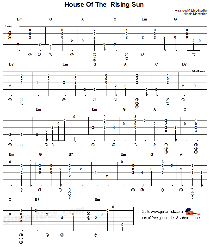 House of the Rising Sun - acoustic guitar chords & tab