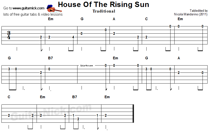 House Of The Rising Sun Easy Guitar Lesson Guitarnick Com,Breakfast Nook Tables And Chairs Set