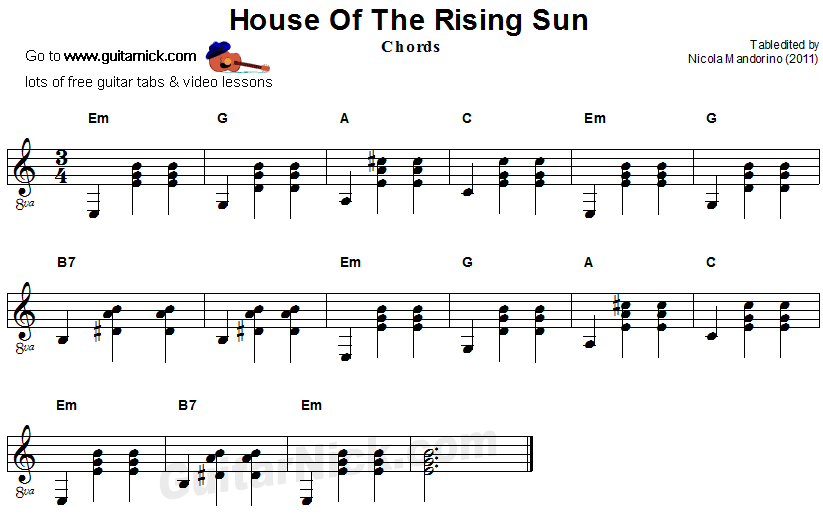 Guitar guitar chords on sheet music : HOUSE OF THE RISING SUN Easy Guitar Lesson: GuitarNick.com