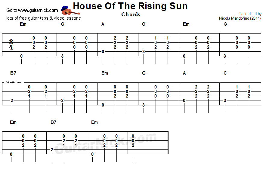 HOUSE OF THE RISING SUN: Guitar Chords - GuitarNick.com