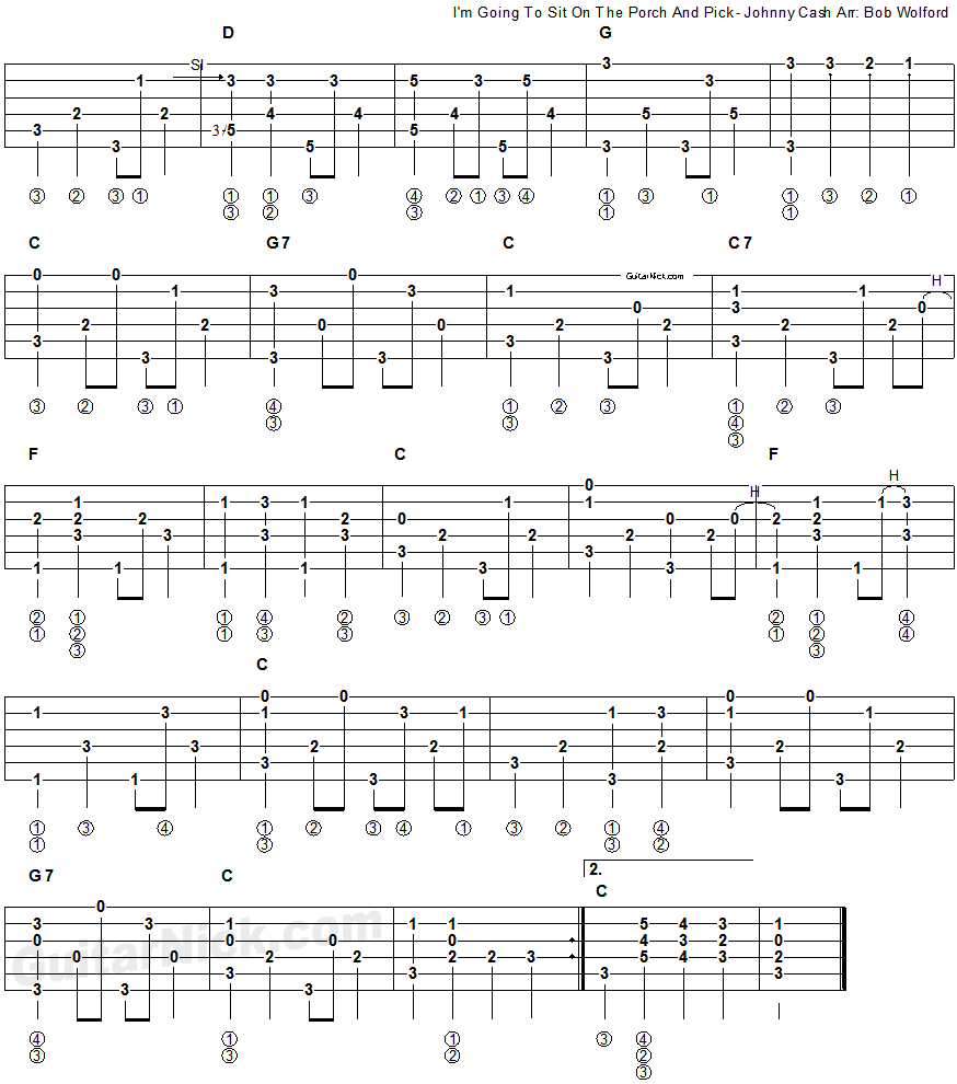 I'm Going To Sit On The Porch And Pick, Johnny Cash - fingerpicking guitar tab 2