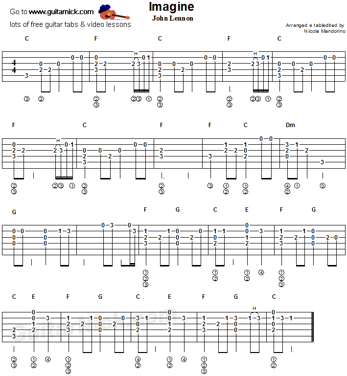 Imagine - flatpicking guitar tab