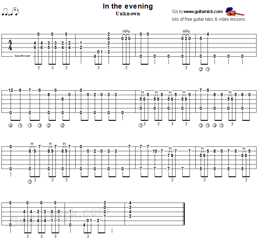 In The Evening: fingerstyle blues, guitar TAB - GuitarNick com