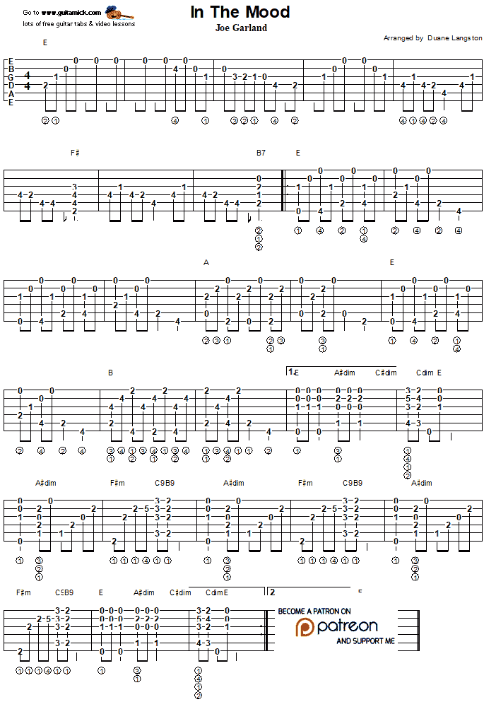 In The Mood - Fingerstyle Guitar Tab