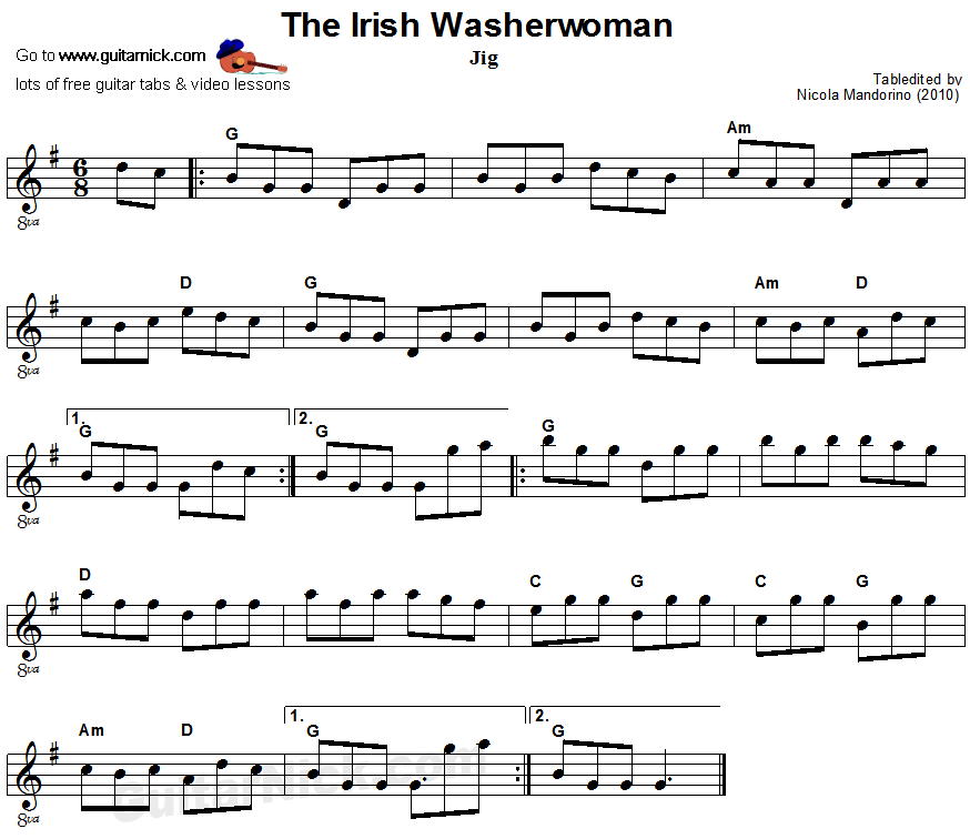 The Irish Washerwoman: sheet music + guitar TAB - GuitarNick.com